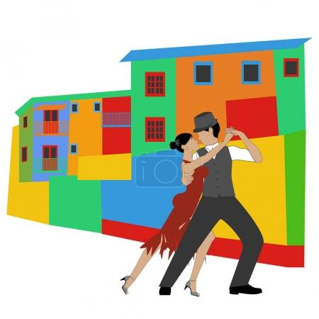 Illustration for La Boca and tango on the white background. Vector illustration - Royalty Free Image