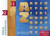 low poly alphabet on polygon concept vector and backgrounds tria