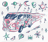 Love bus vector poster Hippie car mini van with different symbols Retro colors Psychedelic concept Vector illustration for summer holiday travel agency beach vacation and party stickers