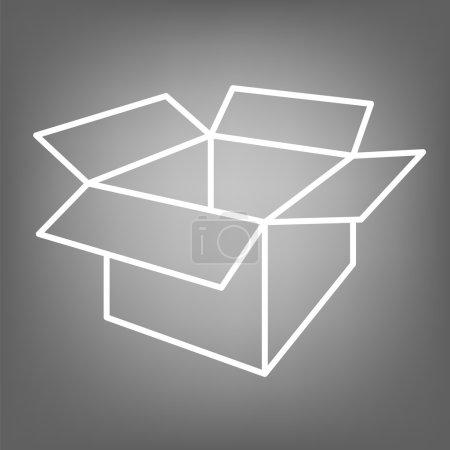 Box icon. Flat line design. Vector illustration