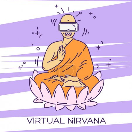 Monk in virtual reality glasses. VR headset advert...