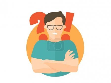 Illustration pour Beau homme à lunettes doutes en colère, offensé. Icône design plat. Garçon avec une question et des points d'exclamation. Simplement modifiable isolé sur signe vectoriel blanc - image libre de droit