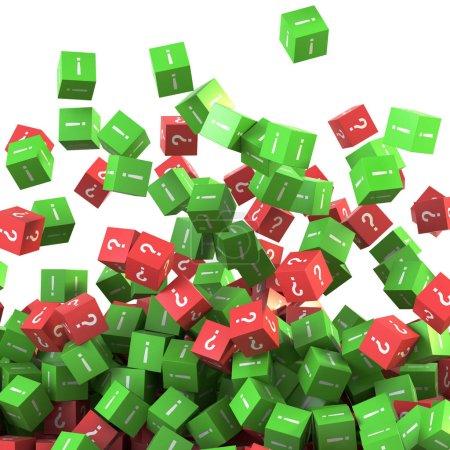 infinite question and answers cubes symbols, original 3d renderi