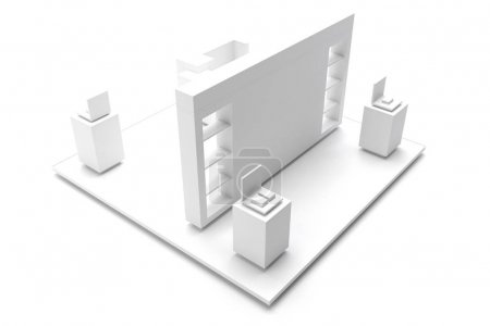 Photo for Empty exhibition kiosk, with copy space. Original 3d rendering project - Royalty Free Image