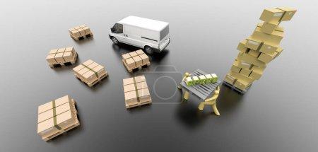 Photo pour Image conceptuelle de l'industrie logistique, rendu 3D original et modèles - image libre de droit