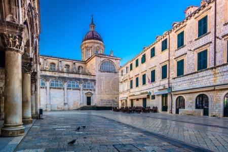 Cathedral sqaure Dubrovnik town.