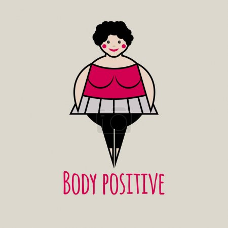 Illustration for Vector icon of body positive. Logo fat smiling friendly happy woman in  tutu. - Royalty Free Image