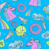 biue pattern with unicorn