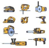 Set of electric construction tools Flat style professional builder tool