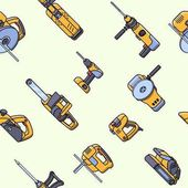 Seamless pattern of electric construction tools Flat style seamless background of professional builder tool