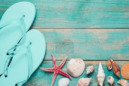 flip flops, seashells and starfish