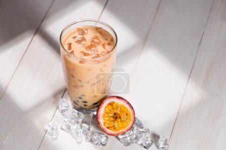 Milk tea with ice cubes