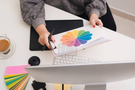 Photo for Interior designer hand working with new modern computer laptop and pro digital tablet - Royalty Free Image