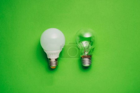 Idea concept with led bulb and tungsten bulb