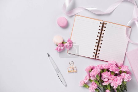 Photo for Mockup planner flat lay. Accessory on the table. View top. Events and party desktop. - Royalty Free Image