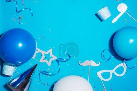 Birthday party blue background. Celebration concept. Flat lay.
