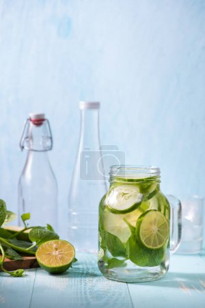 Photo for Detox water with vegetables and fruits. Diet healthy eating and weight loss. - Royalty Free Image
