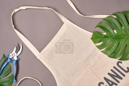 Photo for Apron with leaves and scissors on table. Top view. - Royalty Free Image