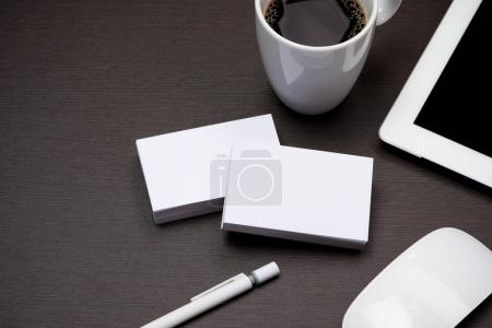 Corporate stationery branding mock-up with Business blank cards