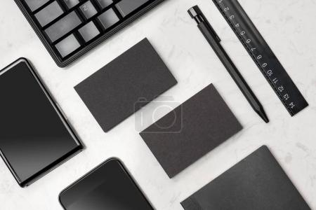 Corporate stationery branding mock-up with black blank business cards