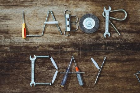 Labor day. Construction tools with copy space