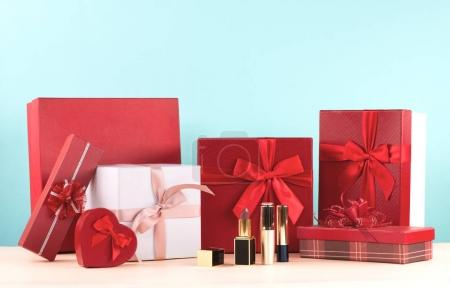 Photo for Gift boxes with red ribbon  for Valentine's Day. - Royalty Free Image
