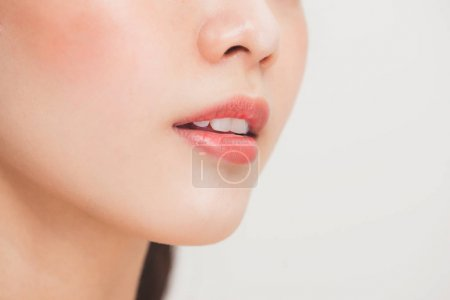 Perfect natural lips makeup with beautiful female mouth, close up