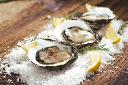 fresh opened oysters and slices of lemon on rustic wooden background