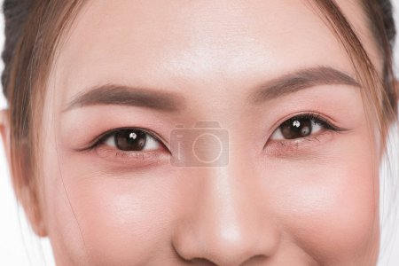Close up of asian eyes woman eyebrow eyes lashes