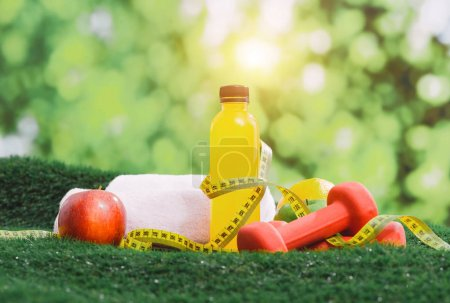 Fitness and sport equipment and health food concept.