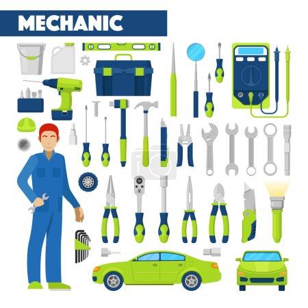 Beruf Automechaniker Icons Set mit Werkzeugen für Autoreparaturen. Vektorillustration