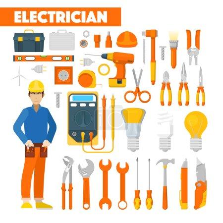Beruf Elektriker mit Voltmeter und Werkzeug. Vektorillustration