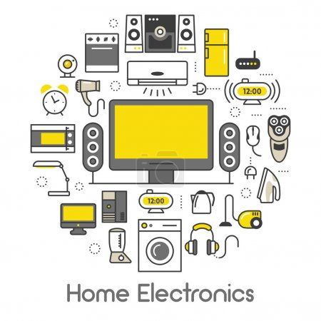 Illustration for Home Electronics Appliances Thin Line Vector Icons Set with TV set, Refrigerator and Coffee Maker - Royalty Free Image