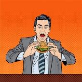 Pop Art Business Man Eating Tasty Burger at Work Vector illustration