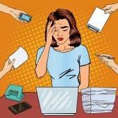 Pop Art Business Woman has a Headache at Office Multi Tasking Work Vector illustration