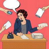 Pop Art Multitasking vielbeschäftigte Geschäftsfrau an Büroarbeit. Vektor-illustration