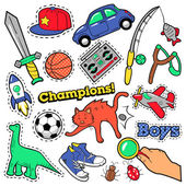 Fashion Badges Patches Stickers Boys Theme Toys Sports Car and Music Recorder in Comic Style Vector illustration