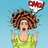 Pop Art Aggressive Furious Screaming Woman with Flying Hair and Flash Vector illustration