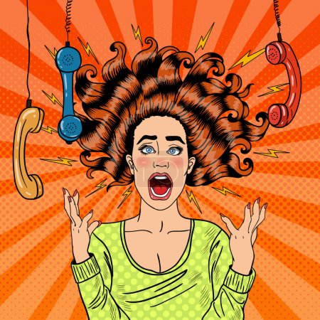 Illustration for Pop Art Aggressive Furious Screaming Woman with Handset. Vector illustration - Royalty Free Image