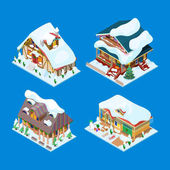 Isometric Christmas Decorated Houses with Christmas Tree and Snowman Vector 3d flat illustration