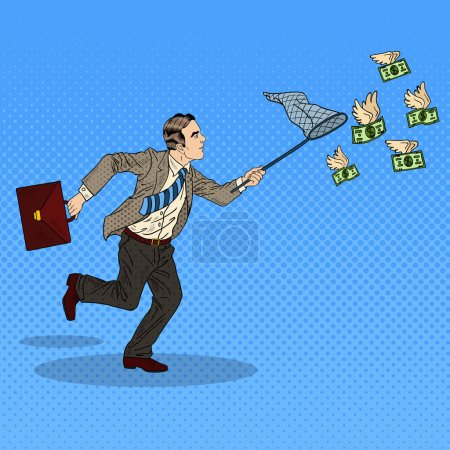 Pop Art Businessman Catching Flying Money. Vector illustration