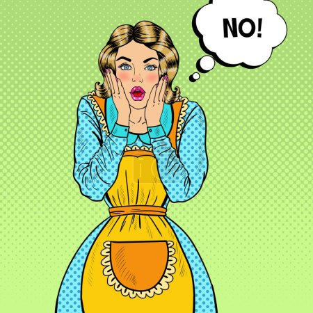Illustration for Pop Art Surprised Housewife. Shocked Young Beautiful Woman in Apron. Vector illustration - Royalty Free Image