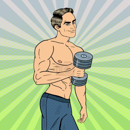 Pop Art Athletic Strong Man Exercising with Dumbbells. Vector illustration