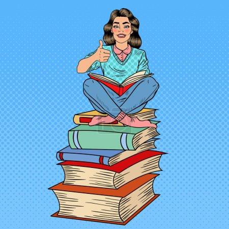 Illustration pour Jolie Pop Art Jeune femme assise sur la pile de livres et de livres de lecture avec la main Sign Thumb Up. Illustration vectorielle - image libre de droit