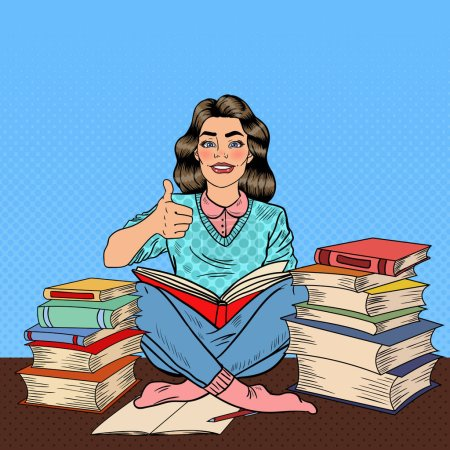 Illustration for Pop Art Young Woman Sitting on the Library Table and Reading Book with Hand Sign Thumb Up. Vector illustration - Royalty Free Image