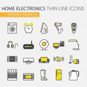 Home Electronics Appliances Thin Line Vector Icons Set with TV set Refrigerator and Coffee Maker
