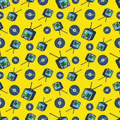TV Set and Vinyl Seamless Pattern Vector Background in Retro Style