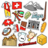 Switzerland Travel Scrapbook Stickers Patches Badges for Prints with Alps Money and Swiss Elements Comic Style Vector Doodle