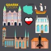 Gdansk Poland Travel Doodle with Gdansk Architecture Ship and Flag Vector illustration