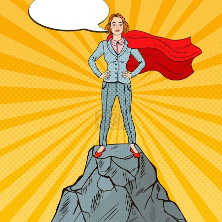 Illustration for Pop Art Confident Business Woman Super Hero in Suit with Red Cape Standing on the Mountain Peak. Vector illustration - Royalty Free Image